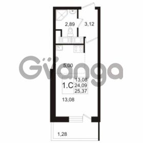 Продается квартира 1-ком 24.09 м² улица Адмирала Черокова 18к 3, метро Проспект Ветеранов