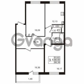 Продается квартира 3-ком 86.9 м² улица Адмирала Черокова 18к 3, метро Проспект Ветеранов