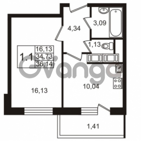 Продается квартира 1-ком 34.73 м² улица Адмирала Черокова 18к 3, метро Проспект Ветеранов