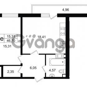 Продается квартира 1-ком 46.7 м² проспект Александровской Фермы 8, метро Пролетарская