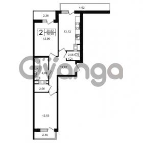 Продается квартира 2-ком 58.9 м² проспект Александровской Фермы 8, метро Пролетарская