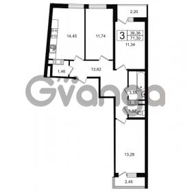 Продается квартира 3-ком 71.3 м² проспект Александровской Фермы 8, метро Пролетарская