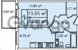 Продается квартира 1-ком 35 м² Ириновский проспект 35, метро Ладожская