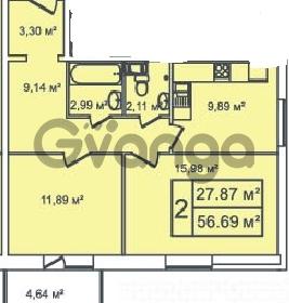 Продается квартира 2-ком 56 м² Ириновский проспект 35, метро Ладожская