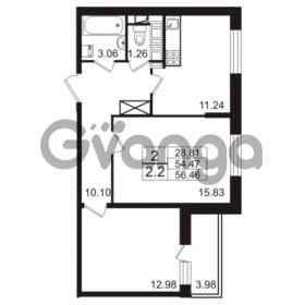 Продается квартира 2-ком 54.47 м² Европейский проспект 4к 2, метро Улица Дыбенко