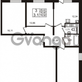 Продается квартира 3-ком 78.46 м² Европейский проспект 4к 2, метро Улица Дыбенко