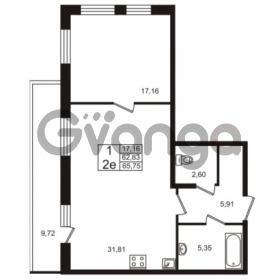 Продается квартира 1-ком 62.83 м² Европейский проспект 4к 2, метро Улица Дыбенко