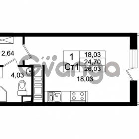 Продается квартира 1-ком 24.7 м² Европейский проспект 4к 2, метро Улица Дыбенко