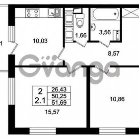 Продается квартира 2-ком 50.25 м² Европейский проспект 4к 2, метро Улица Дыбенко