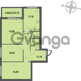Продается квартира 3-ком 70.55 м² Зеленая улица 7, метро Озерки