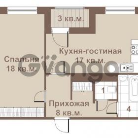 Продается квартира 1-ком 50 м² улица Крыленко 1, метро Улица Дыбенко