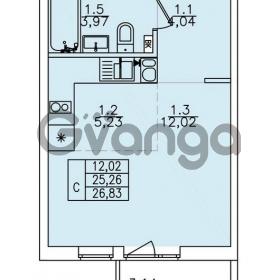 Продается квартира 1-ком 26.83 м² улица Николая Рубцова 22к 1, метро Ладожская