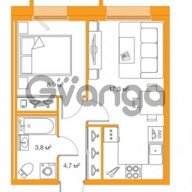 Продается квартира 1-ком 34.7 м² Комендантский проспект 58к 2, метро Комендантский проспект