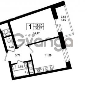 Продается квартира 1-ком 36 м² Оборонная улица 26, метро Девяткино