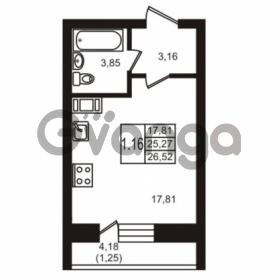 Продается квартира 1-ком 26.52 м² шоссе в Лаврики 74к 1, метро Девяткино