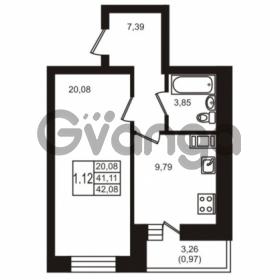 Продается квартира 1-ком 42.08 м² шоссе в Лаврики 74к 1, метро Девяткино