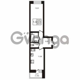 Продается квартира 1-ком 40.11 м² шоссе в Лаврики 74к 1, метро Девяткино