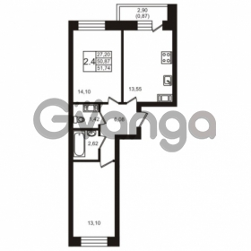 Продается квартира 2-ком 51.74 м² шоссе в Лаврики 74к 1, метро Девяткино