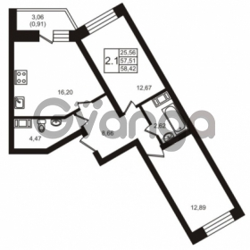 Продается квартира 2-ком 58.42 м² шоссе в Лаврики 74к 1, метро Девяткино