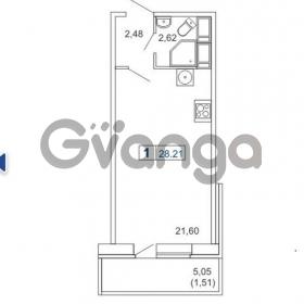 Продается квартира 1-ком 28 м² Новая улица 15, метро Ладожская