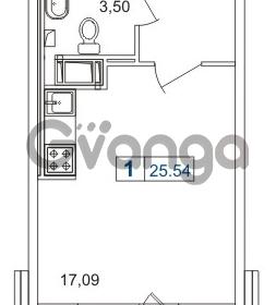 Продается квартира 1-ком 25.54 м² шоссе в Лаврики 74к 1, метро Девяткино