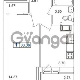 Продается квартира 1-ком 33.36 м² шоссе в Лаврики 74к 1, метро Девяткино