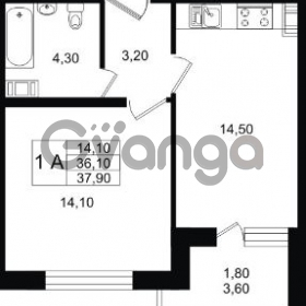 Продается квартира 1-ком 37.9 м² Славянская улица 1, метро Парнас