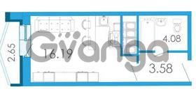 Продается квартира 1-ком 25.17 м² Школьная улица 6к А, метро Звездная