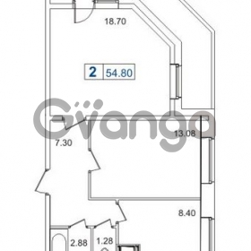 Продается квартира 2-ком 54 м² Пулковское шоссе 40к 2, метро Звездная