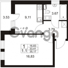 Продается квартира 1-ком 33 м² Немецкая улица 1, метро Улица Дыбенко