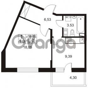 Продается квартира 1-ком 37 м² Немецкая улица 1, метро Улица Дыбенко