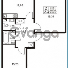 Продается квартира 2-ком 60 м² Немецкая улица 1, метро Улица Дыбенко