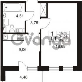 Продается квартира 1-ком 34 м² Немецкая улица 1, метро Улица Дыбенко