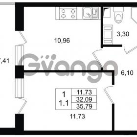 Продается квартира 1-ком 32 м² проспект Строителей 1, метро Улица Дыбенко