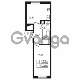 Продается квартира 1-ком 44 м² Европейский проспект 1, метро Улица Дыбенко