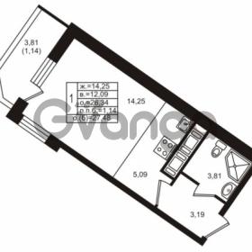 Продается квартира 1-ком 26.34 м² улица Шувалова 1, метро Девяткино