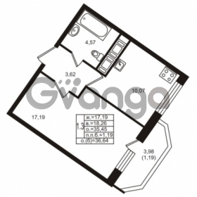 Продается квартира 1-ком 35.42 м² улица Шувалова 1, метро Девяткино