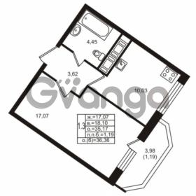Продается квартира 1-ком 35.17 м² улица Шувалова 1, метро Девяткино
