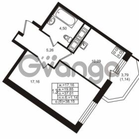 Продается квартира 1-ком 37.01 м² улица Шувалова 1, метро Девяткино
