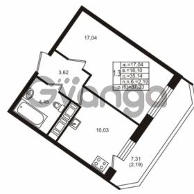 Продается квартира 1-ком 35.14 м² улица Шувалова 1, метро Девяткино