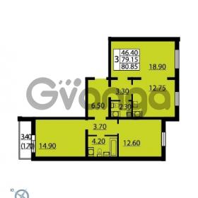 Продается квартира 3-ком 80.85 м² Витебский проспект 101к 4, метро Купчино