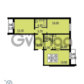 Продается квартира 3-ком 87.95 м² Витебский проспект 101к 4, метро Купчино