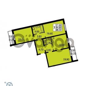 Продается квартира 3-ком 88.3 м² Витебский проспект 101к 3, метро Купчино
