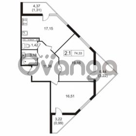 Продается квартира 2-ком 74.33 м² улица Токарева 13к 3, метро Старая деревня