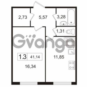 Продается квартира 1-ком 41.14 м² улица Токарева 13к 3, метро Старая деревня