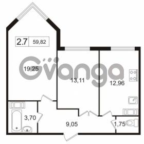 Продается квартира 2-ком 59.82 м² улица Токарева 13к 3, метро Старая деревня