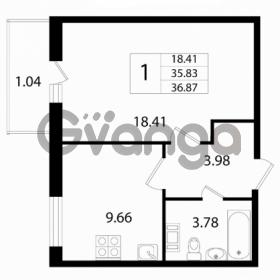Продается квартира 1-ком 35 м² Австрийская улица 3, метро Улица Дыбенко