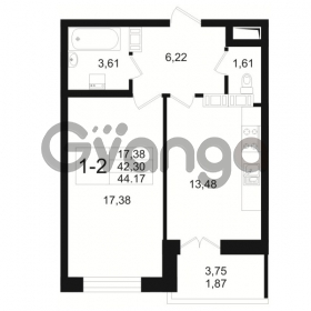 Продается квартира 1-ком 42 м² Малый пр. В.О. 64, метро Василеостровская
