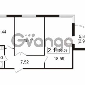 Продается квартира 2-ком 58.59 м² улица Токарева 13к 3, метро Старая деревня