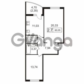 Продается квартира 2-ком 60.05 м² улица Токарева 13к 3, метро Старая деревня